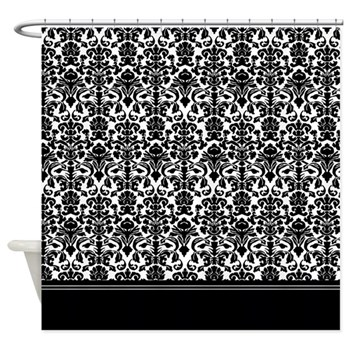 gothic black damask shower curtain
