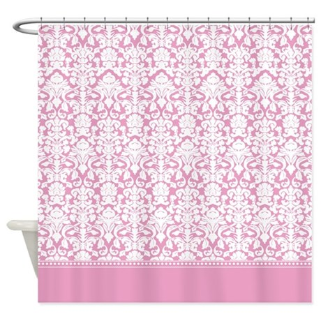 fancy pink damask shower curtain