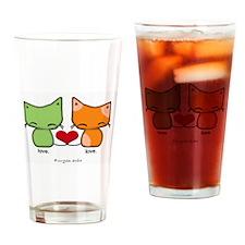 love.love. kitties Drinking Glass