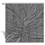 Dark Grey Floral Shower Curtain