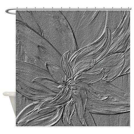 Dark Grey Floral Shower Curtain By Markmoore
