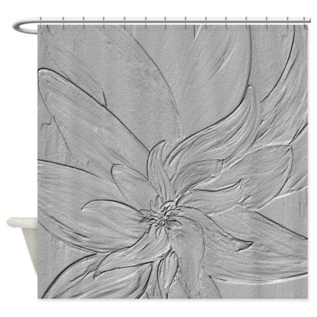 Light Grey Floral Shower Curtain By Markmoore