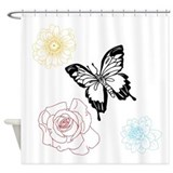 Butterfly and flowers shower curtain