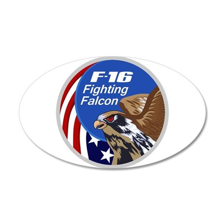 F-16 Falcon 35x21 Oval Wall Decal