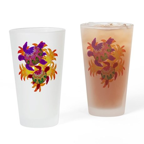 Flaming Turtles Drinking Glass