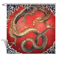 Katsushika Hokusai Dragon Shower Curtain