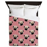 Pugs on Red Stripes Duvet