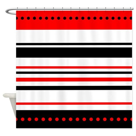 Black and Red Stripes Shower Curtain by stolenmomentsph