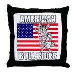 American Bull Rider Throw Pillow