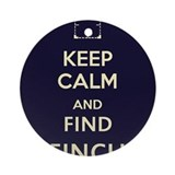 Keep Calm and Find Finch (blue background) Ornamen