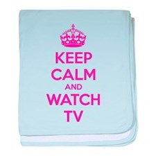 Keep calm and watch tv baby blanket