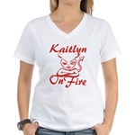 Kaitlyn On Fire Women's V-Neck T-Shirt