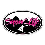 PINK SNOWLIFE BOARDER OVAL Decal