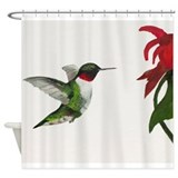 Hummingbird and Bee Balm Shower Curtain