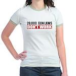 20,000 Gun Laws Jr. Ringer T-Shirt