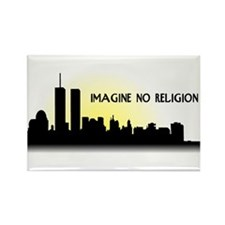 Imagine No Religion Twin Towers Rectangle Magnet (