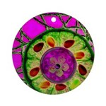 Abstract orange slice with jewels Ornament (Round)