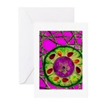 Abstract orange slice with jewels Greeting Cards (