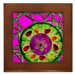 Abstract orange slice with jewels Framed Tile