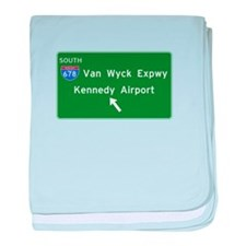 Kennedy Airport Highway Sign baby blanket