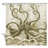 Sepia Kraken Shower Curtain