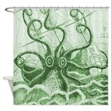 Green Kraken Shower Curtain