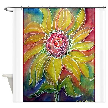 sunflower bright flower art shower curtain by meowries