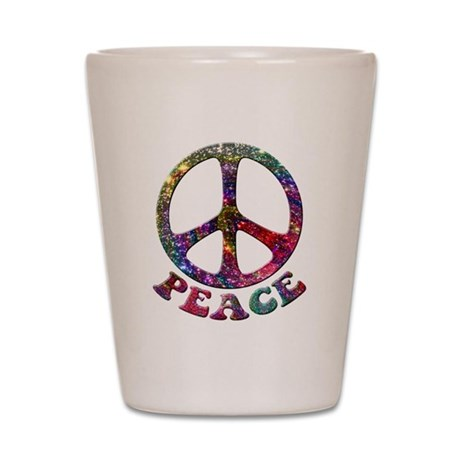 Jewelled Peace Symbol Shot Glass