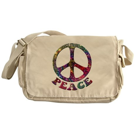Jewelled Peace Symbol Messenger Bag