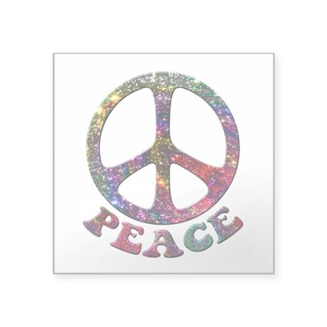 Jewelled Peace Symbol Square Sticker 3&quot; x 3&quot;