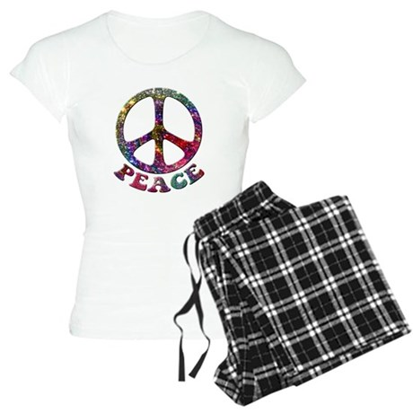 Jewelled Peace Symbol Women's Light Pajamas