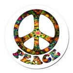Painted Peace Symbol Round Car Magnet