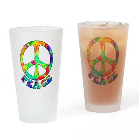 Rainbow Pool Peace Symbol Drinking Glass