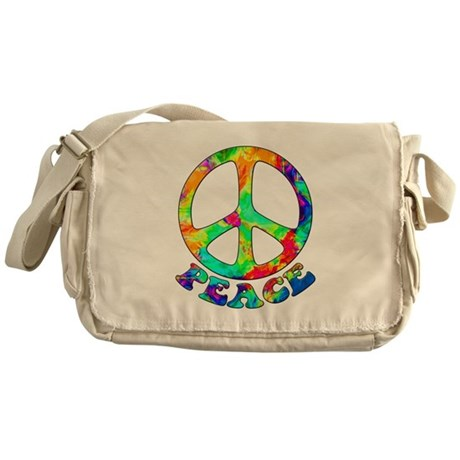 Rainbow Pool Peace Symbol Messenger Bag