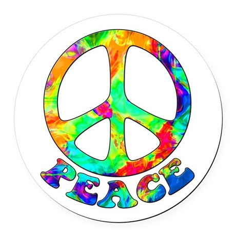 Rainbow Pool Peace Symbol Round Car Magnet