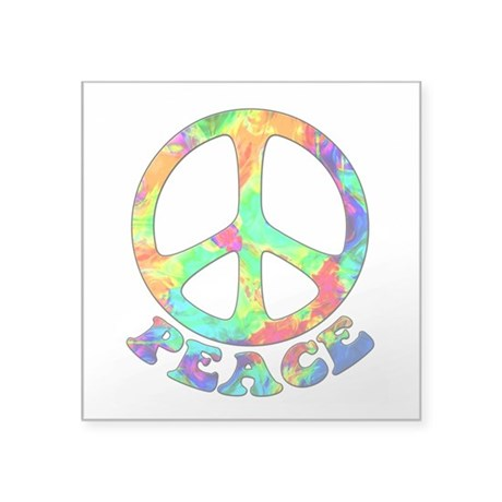 "Rainbow Pool Peace Symbol Square Sticker 3"" x 3"""