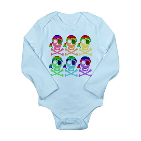 Rainbow Pirate Skulls Long Sleeve Infant Bodysuit