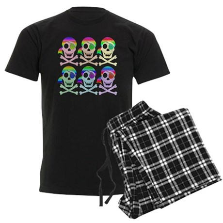 Rainbow Pirate Skulls Men's Dark Pajamas