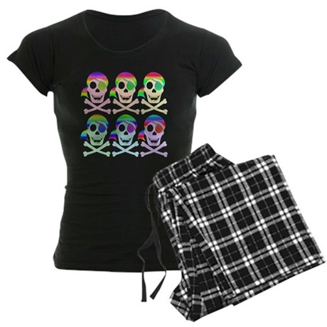 Rainbow Pirate Skulls Women's Dark Pajamas