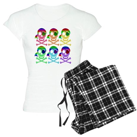 Rainbow Pirate Skulls Women's Light Pajamas