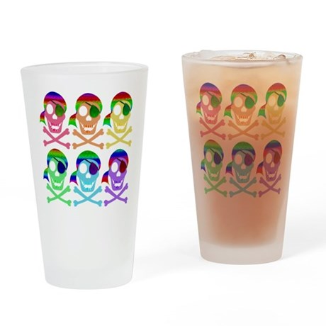 Rainbow Pirate Skulls Drinking Glass