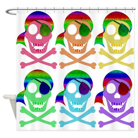 Rainbow Pirate Skulls Shower Curtain