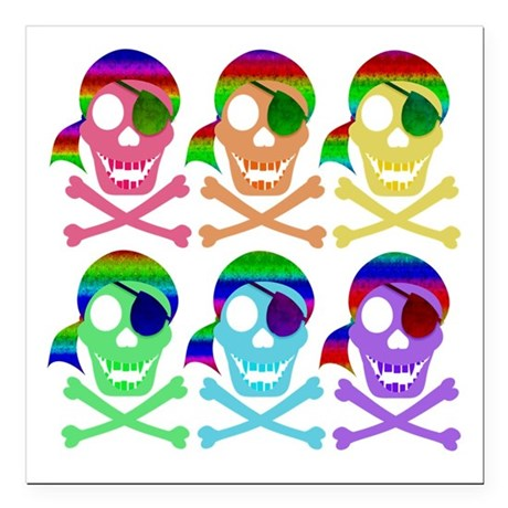 "Rainbow Pirate Skulls Square Car Magnet 3"" x"
