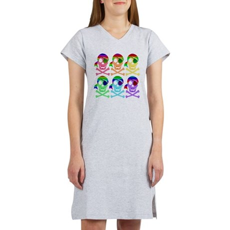 Rainbow Pirate Skulls Women's Nightshirt