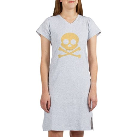 Distressed Orange Skull Women's Nightshirt