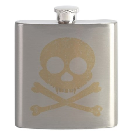 Distressed Orange Skull Flask