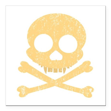 "Distressed Orange Skull Square Car Magnet 3"" x 3"""