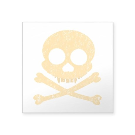 "Distressed Orange Skull Square Sticker 3"" x 3"""
