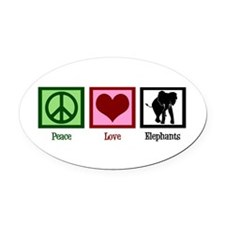 Peace Love Elephants Oval Car Magnet