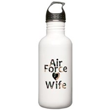 Air Force Wife Heart Camo Water Bottle